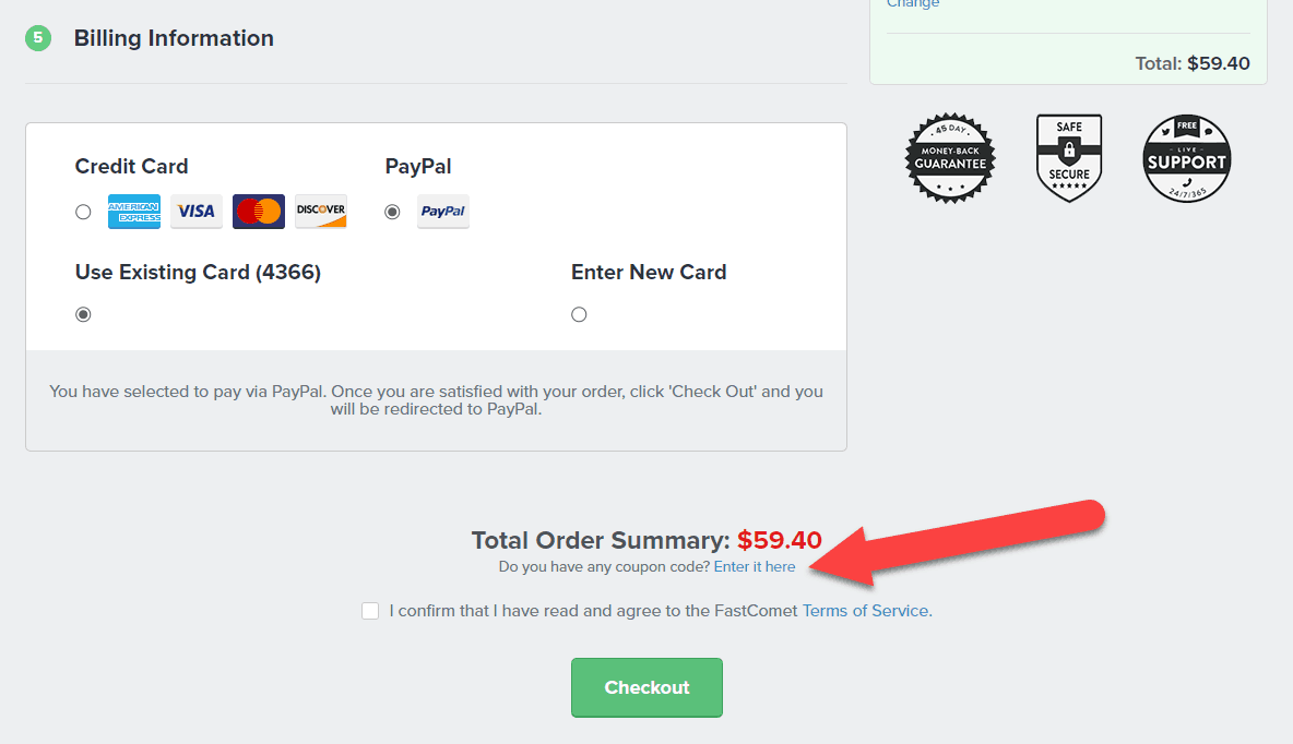 how to use fastcomet coupon